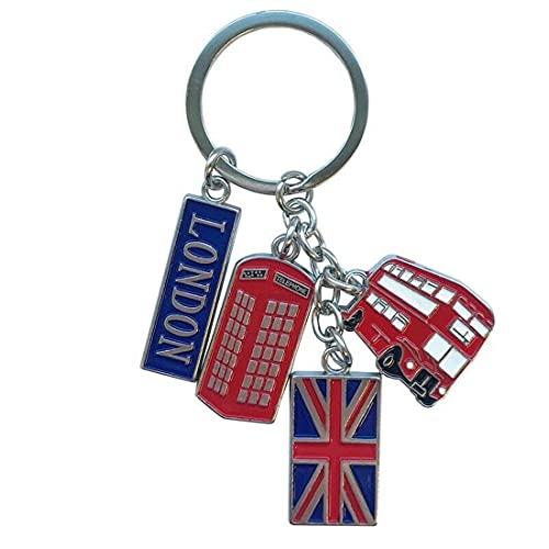 Smartbadge® London, Telefonzelle, Doppeldecker mit Union Jack Metall-Schlüsselanhänger