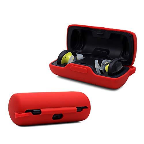 NOKOER Funda para Bose SoundSport Free, Ultradelgado Silicona Case Cover, Anti-caída, Bose SoundSport Free Funda - Rojo