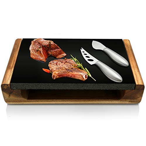 Nutrichef Hot Stone Grill/Food Serving Platter Set w/Acacia Wood Tray, Slab, Stainless Steel Knives-Lava Rock for Cooking Steak, Meat PKLVST10