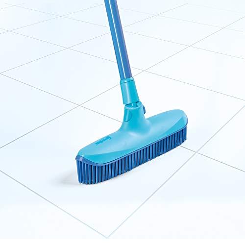 Spontex Catch & Clean, Kehrbesen mit Gummiborsten, Teleskopstiel und praktischem Auffangbehälter, hygienische und effiziente Reinigung für alle Bodenbeläge, 1 Set - 10