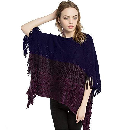 Frauen Schal Frauen Quaste Strick Umhang Poncho Schals Pullover Outwear Tops Schals Stolen (Farbe: Blau) Geschenk