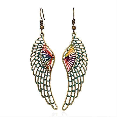 Pour les femmes plaqué or grand triangle rond suspendu boucle d'oreille goutte à la main coloré fil de soie boucles d'oreilles pour femmes fille E020134D