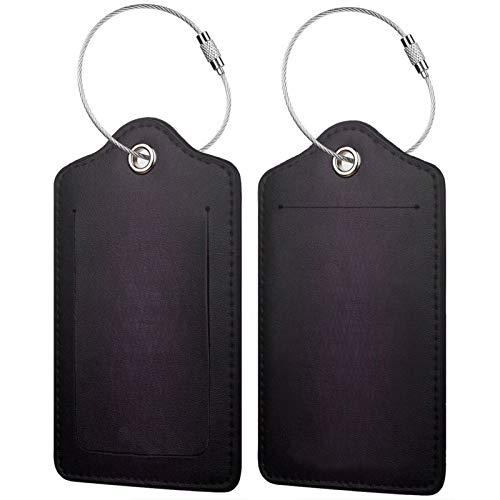FULIYA - Juego de 2 etiquetas de cuero para maletas, identificador de viaje para bolsos y equipaje, para hombres y mujeres, celdas, violeta, negro
