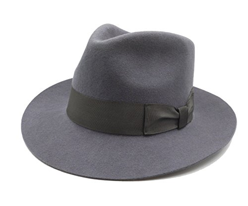 DYZOO Filzmütze aus Fedora-Wolle, klassisch, Manhattan Indiana Jones Mütze, Gangster-Flecke, Unisex - Grau - Small=55 cm(6 7/8)