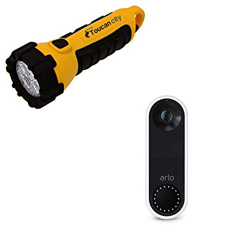 Toucan City LED Flashlight and Arlo Wired Video Doorbell AVD1001-100NAS