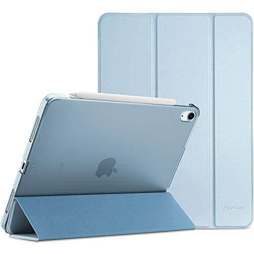 ProCase Hülle für iPad Air 4 Generation 10.9 Zoll 2020, Schutzhülle Case(Unterstützt 2. Gen iPencil Aufladen), Ultra Dünn Leicht Ständer Schal Smart Cover mit Transluzent Frosted Rück -Himmelblau