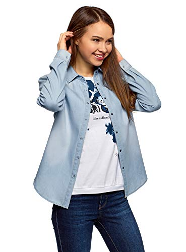 oodji Ultra Mujer Camisa Vaquera con Botones a Presión, Azul, ES 36 / XS