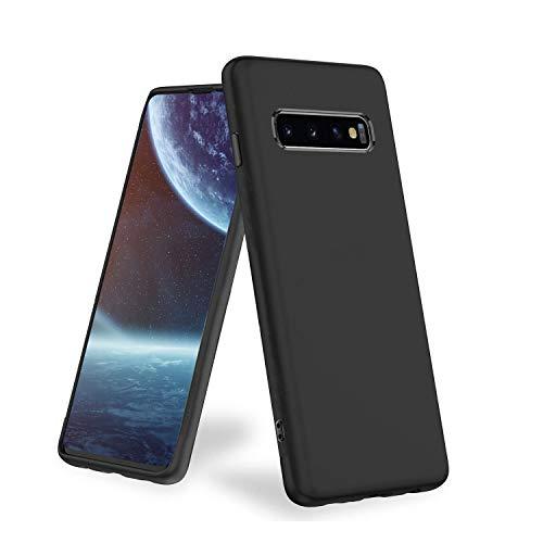 Chalpr hülle Kompatibel mit Samsung Galaxy S10 Plus, Matt Schwarz Silikon Handyhülle, Anti Fingerabdruck-rutschfest Weiche Schutzhülle, Stoßfest Fallschutz Case Kompatibel mit Samsung S10 Galaxy Plus