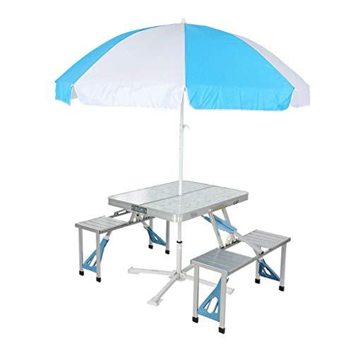 LZL Mesa y sillas Plegables al Aire Libre, una Mesa y Cuatro sillas, Mesa de una Sola Pieza de aleación de Aluminio portátil y Parada, Puesto de Picnic del Coche (Color : with Umbrella)