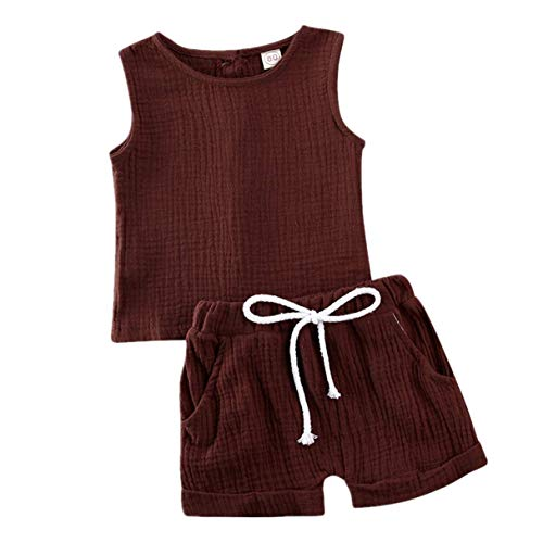 Baby Boy Girl Shorts OutfitSleeveless Button Down Vest Tanks Top Shorts Pants 2Pc Solid Cotton Linen Summer Clothes (Brown, 3-4 Years)
