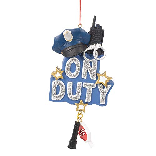 Midwest-CBK On Duty Officer Police Blue 5 x 5 Resin Stone Christmas Hanging Ornament