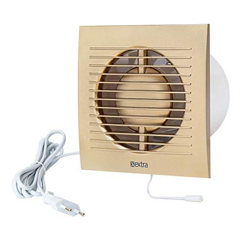 Ø 100mm Wandventilator Lüfter Abluft Kabel Schalter Ventilator Küche WC Bad mit stecker, Farbe - Gold