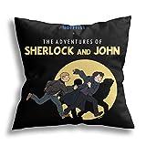 The adventures of Sherlock and John - Funda de cojín decorativa cuadrada para sofá cama, 45,7 x 45,7 cm