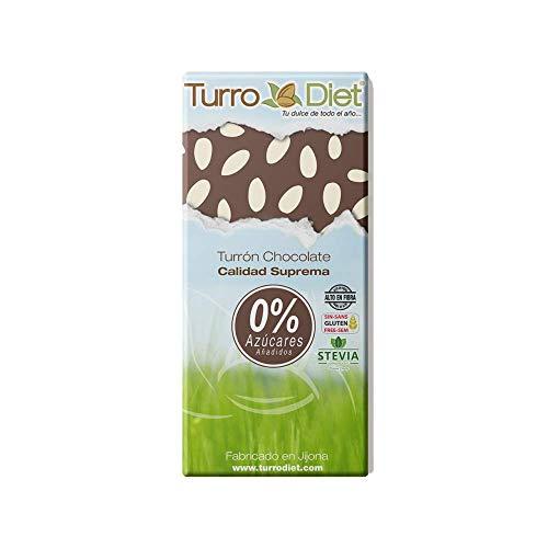 Turrón de chocolate negro con almendras sin azúcares añadidos, sin gluten y con stevia Turrodiet 150g.