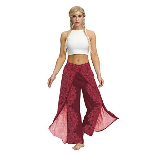 TUDUZ Yoga Hosen Baggy Hippie Boho Hose Haremshose Hosenrock Aladinhose Pumphose Pluderhosen für Damen (M, X2-Hot Pink)