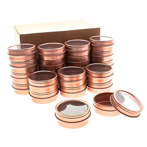 Mimi Pack 24 Pack Tins 4 oz Shallow Round Tins with Clear Window Lids Empty Tin Containers Cosmetics Tins Party Favors Tins and Food Storage Containers (Rose Gold)