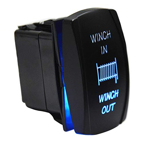 XJMOTO 7Pin Winch in Out Momentary Rocker Toggle Switch Blue Backlit 20A 12V Compatible with ATV UTV Truck Jeep Honda Polaris Ranger RZR Can Am Commander Maverick