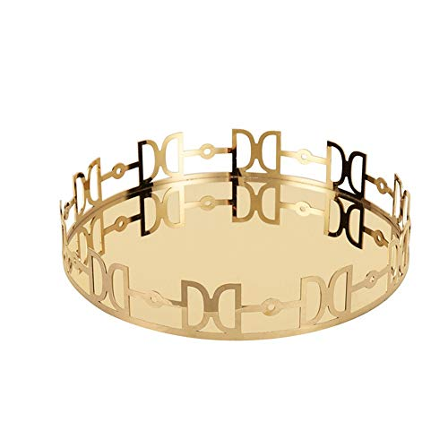 Make-up lade Gold, Large Metal sieraden decoratieve lade Organizer Ronde for Vanity, Dienblad for drank, ontbijt (Color : Gold, Size : 30x5cm)