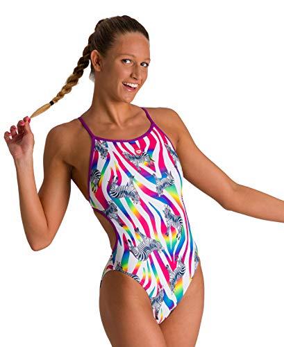 ARENA Bañador 1P Crazy Zebras Lace Back, Costume da Bagno Donna, provenza/Multi, 32