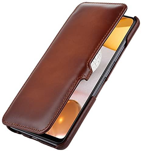 StilGut Book Hülle kompatibel mit Samsung Galaxy A42 5G Hülle aus Leder mit Clip-Verschluss, Lederhülle, Klapphülle, Handyhülle - Cognac Antik