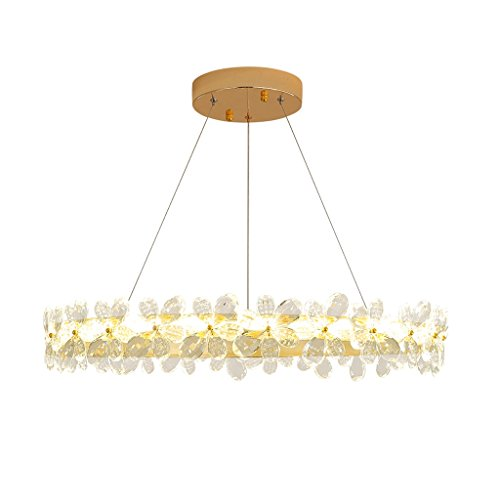 LOVELY LIGHT Lustre Moderne De Fleur De Cristal, Salon Créatif Chaud Fer Rond Imitation Lampe De Plafond En Métal, Fil De Suspension 100cm