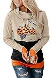 SLYZ Otoño E Invierno De Las Mujeres Europeas Y Americanas Nuevo Suéter De Manga Larga Patrón De Dibujos Animados De Halloween De Las Mujeres Contraste Suéter De Cuello Alto Suéter De Las Señoras
