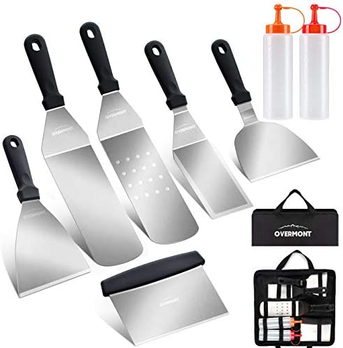 Overmont Grill Griddle Accessories Set 8 Pieces Outdoor Heavy Duty Flat Top Grilling Tool Kit product image