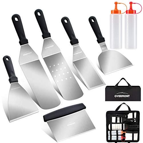 OVERMONT Set Barbecue 13 Pezzi Professionale Acciaio Spatola Inox Kit di Accessori per Grill, Ideale per Griglia,Campeggio,Feste All'aperto