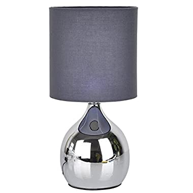 """Touch Lamps Bedside 4 Stage 12""""H Chrome Table Desk Light Fabric Shades (Grey)"""