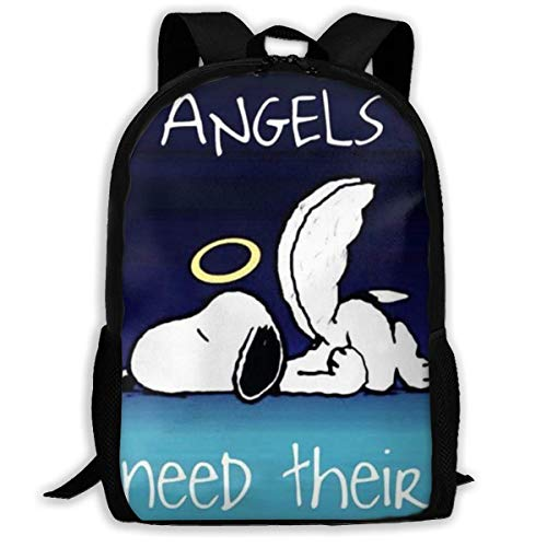 Mei-shop Casual Backpack Angel Sn-oopy Print Zipper School Bag Travel Daypack Backpack-W1Z