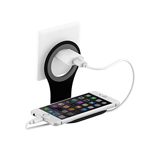 Xlayer Colour Line Steckdosenhalterung für Smartphone, Handy Halterung für alle gängigen Ladekabel, Schwarz