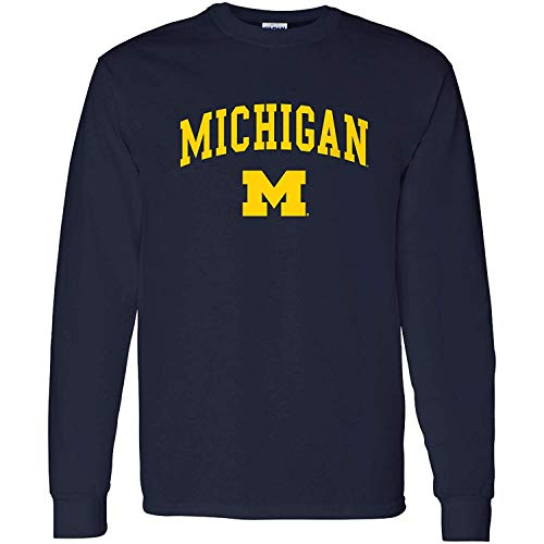 AL03 - Michigan Wolverines Arch Logo Long Sleeve - X-Large - Navy