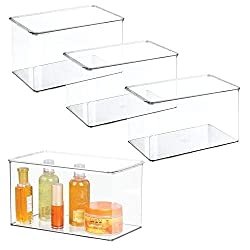 organize under rv bathroom sink with clear containers
