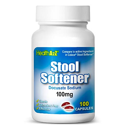 HealthA2Z Stool Softener, Docusate Sodium 100mg, Compare to Colace® Active Ingredient, 100 Capsules