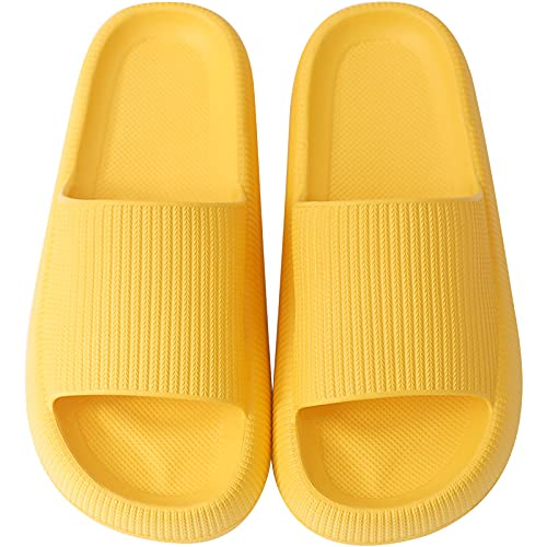 QAZW Ultra-soft Slippers, Super Soft Home Slippers, Pillow Slides, Bathroom Non-slip Thick Soled Shoes, Quick-drying Shower Slides for Women and Men,Yellow-7/8