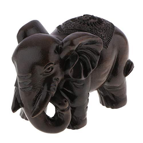 LOVIVER Asiatische Handgeschnitzter Elefant Figur Dekofigur Holzfigur - L