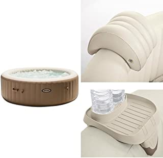 Intex 85in PureSpa Portable Bubble Massage Spa Set and PureSpa Headrest and PureSpa Cup Holder, 2 Standard Size Beverage Containers