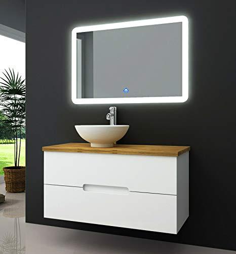 OIMEX TAMBUS 90 cm Designer Badmöbel Set Waschtisch Unterschrank mit Aufsatzwaschbecken Bambus Holz auf Wunsch LED Spiegel Armatur, Größe: Waschbecken Links, Waschtisch mit LED-Spiegel und Armatur