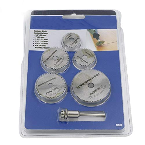Buenas 6pcs / Set Mini sierra circular HSS discos de corte de la hoja de la madera taladro for herramientas rotativas de metal Cortadora mecánica herramienta de mandril Conjunto Cortar la ruleta
