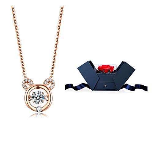 NYKK Necklace Sterling Silver Genuine Bear Gemstone Pendant Necklace Rose Gold Pendant Necklace Birthstone Crystal Jewelry Gifts for Women Ladies Necklace (Color : B)