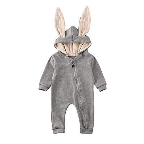 Carolilly Schlafanzug Baby Mädchen Pyjama Jungen Strampler Ostern Hasen Ohren Hoodie Herbst Winter (Grau 1, 6-9 Monate, 66)