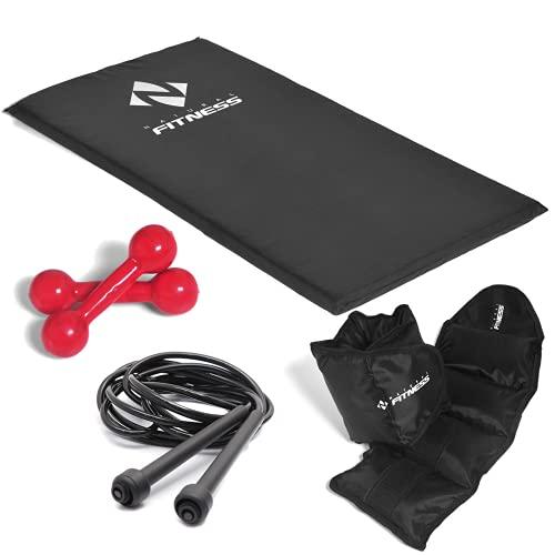 Kit Colchonete + Halteres de 3kg + Caneleiras de 3kg + Corda Academia Fitness Musculação