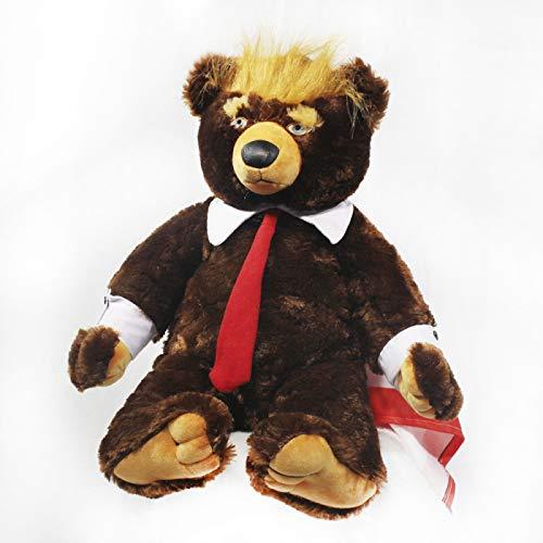 wwwl Plüschtiere 60cm Donald Trump Bär Plüsch Spielzeug Cool USA Präsident Bär mit Flagge süße Tier Bär Puppen Trump Plüsch gefülltspielzeug Kinder Geschenke Stofftier 60cm Brown