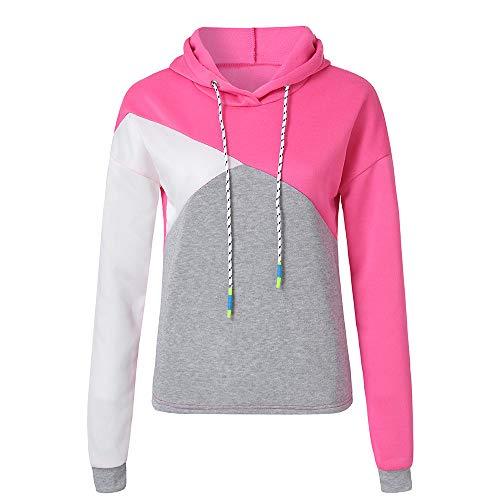 iHENGH Sweatshirt Damen, Frauen Herbst Lange ÄRmel Patchwork Hoodie Hooded Sweatshirt Pullover Tops Bluse