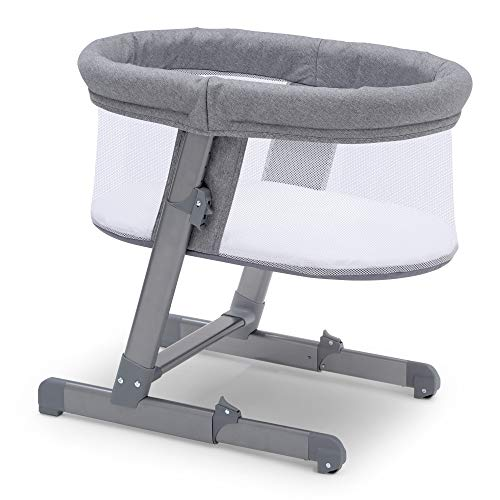 Simmons Kids Oval City Sleeper Bedside Bassinet - Adjustable Height Portable Crib with Wheels & Airflow Mesh, Grey Tweed