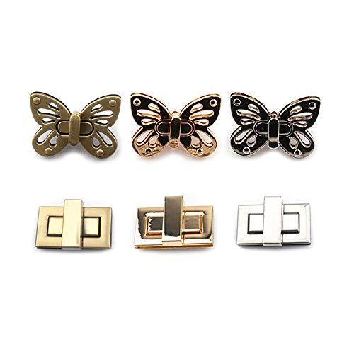 Zasiene Taschenschnalle 6Pcs Schmetterlingsform Drehverschluss Nähen Zubehör Taschenzubehör Steckschloss für Taschen DIY Taschenzubehör zum Nähen