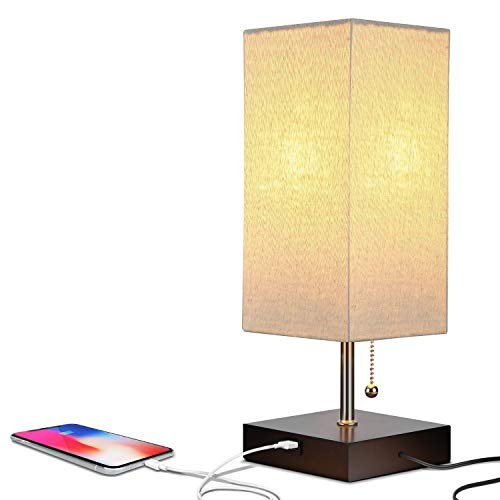 Brightech Grace LED USB Bedside Table & Desk Lamp – Modern Lamp with Soft, Ambient Light,...