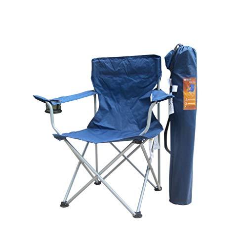 Sedia Portatile Sedia da Campeggio Beach Sedia Pieghevole Leggera Poltrona da Campeggio Portatile ad Alto Campeggio con braccioli ricchi Imbottiti e Supporto Tazza Pieghevole (Color : Blue)