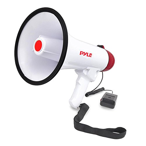 Pyle Megaphone Speaker PA Bullhorn W Built-in Siren - Adjustable Volume, 800 Yard Range - Ideal for Football, Soccer, Baseball, Hockey, Basketball...