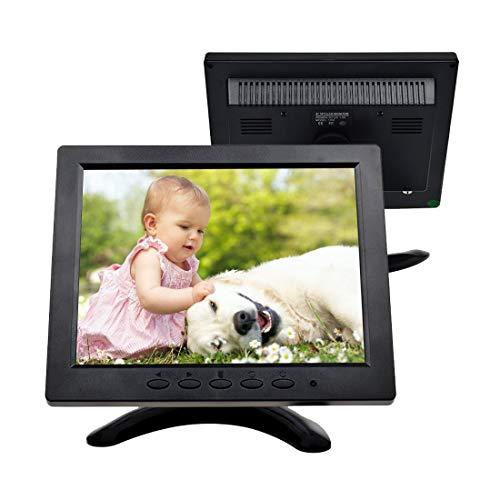 TOGUARD Monitor 8 Pollici 1024 * 768 TFT LCD a Colori con connessioni BNC, HDMI, AV, VGA
